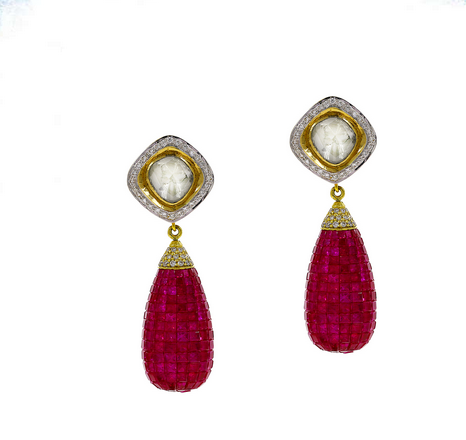 0113867101601 Gold Earring Diamond Polki And Ruby Stones