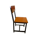 Black And Brown Iron Frame Wooden Chair, Dimension: 350 X 460 X 740 Mm