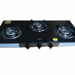 Lpg Black Three Burner Basic Gas Stove, for Kitchen