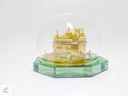 Glass Golden Temple Showpiece Personalized For Home And Corporate Gift