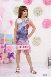 PINK MIDI Cute Floral Applique Printed Dress, Size: 22X36