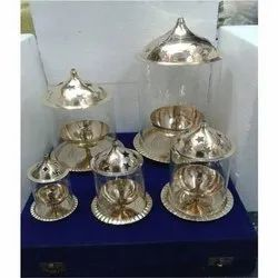 Antique Golden Glass Akhand Diya, for Worship, 5