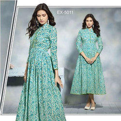Free Size Printed Ladies Anarkali Kurti