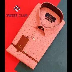 Cotton Casual Wear Swiss Club Mens Formal Printed Shirt