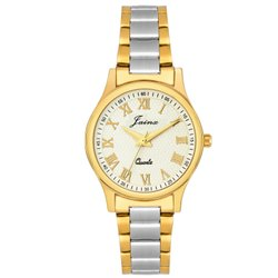 Jainx White Dial Round Two Tone Analog Watch For Women - JW1201