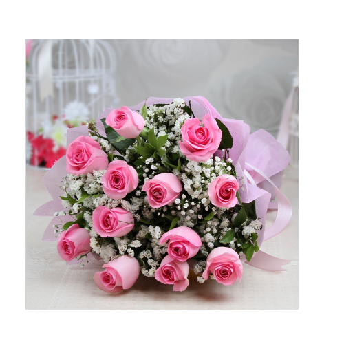 12 pink roses bunch view specifications details of flower bunch 12 pink roses bunch mightylinksfo