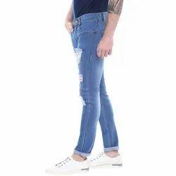 Denim Faded Blue Mens Damage Jeans