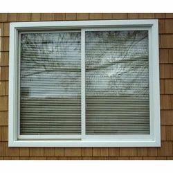 Modern White Aluminium Glass Sliding Window, For Home