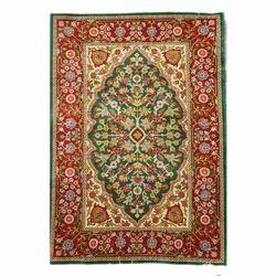 Hand Knotted Kashmiri Silk Carpet, Shape: Rectangular