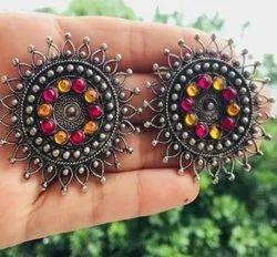 Kaizer Muticolor Handmade Artificial Stone Work Earrings Black Metal Work, Packaging Type: Bopp