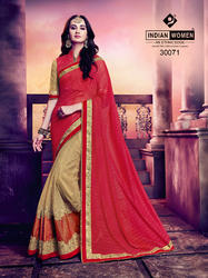 Women Red And Gold Georgette & Knitting Jacquard Saree