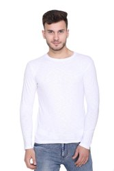Harbor N Bay Men's Cotton Full Sleeve White T-Shirt, Size: S-XXL