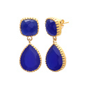 Tanzanite & Pink Quartz Gold Fillgree Hotlook Gemstone Beautiful Earring