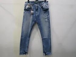 Mens Light Blue Straight Fit Stretch Jeans(PW-012)