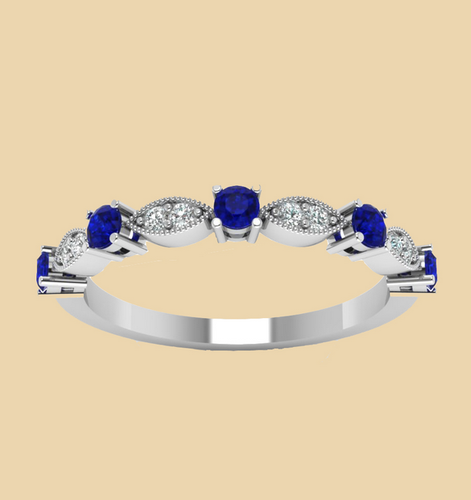 Blue Stone White Gold Plated Base Engagement Wedding Rings at Rs