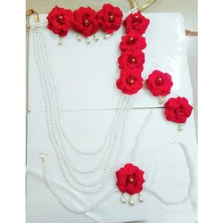 Artificial Red Rose Flower Jewellery for baby shower