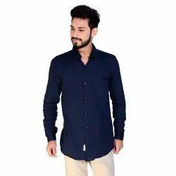 Aadhar Navy Plain Full Sleeves Shirt, Size: s To 2xl
