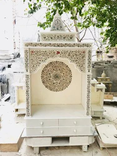 Indoor White Marble Temple With Mop Inlay Design For Home Size 36 Inch By 24 Inch By 72 Inch Rs 155000 Piece Id 22225581491