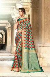 Thankar Green Heavy Eid Special Unnati Silk Saree, Size: Un Stitched, 5.5 M (separate Blouse Piece)