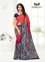 Party Wear Georgette Printed Casual Wear Saree, 6 M (with Blouse Piece)