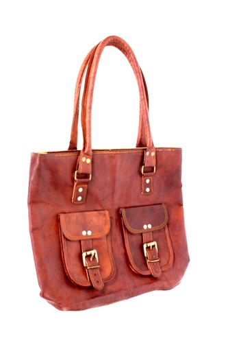 b02af1302b67 Brown Plain Ladies Leather Tote Bag