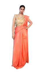 Dark Peach Formal Wear And Party Wear Designer Saree, With Blouse Piece