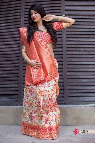 99fd9219d6c4c5 Banarasi Silk Beige Color Woven Saree With Blouse