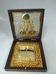 Copper Sai Baba Gold Plated Photo Frame Box