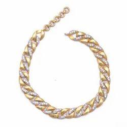 Pave Diamond  925 Sterling Silver  Gold Plated Silver Bracelet