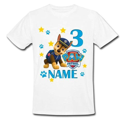 Round Women Sprinklecart Custom Name And Age Printed Paw Patrol Chase Themed Birthday Tee