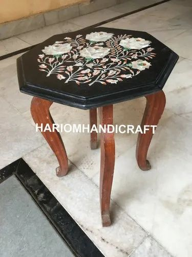 Black Marble Coffee Table Top With Wooden Stand Mother Of Pearl