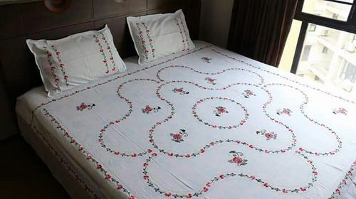 Embroidered White Hand Embroidery Bed Sheet