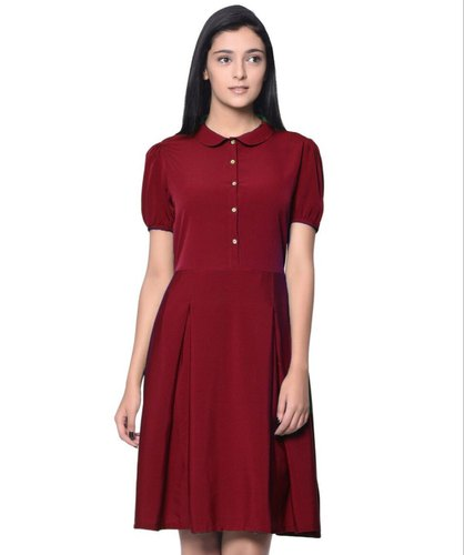 82cb53ef7fd Plain Solid Maroon Peterpan Collar Skater Dress