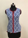 Cotton Blue Colour Paisley Print Short Top