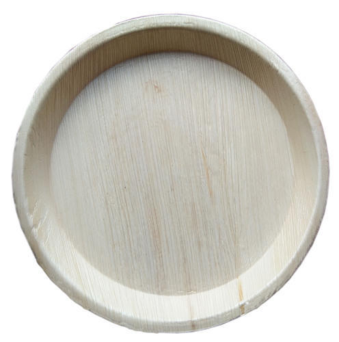 Wooden Color Biodegradable Areca Plate 12 Inch Round