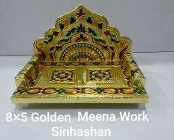 8x5 Inch Meena Work Wooden Singhashan