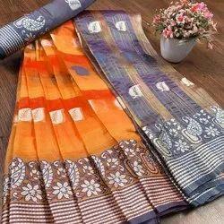 Banarasi Silk Traditional Wear Mustard Sarees With Blouse Piece