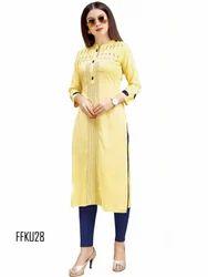 3/4th Sleeve Cotton Yellow Casual Kurti