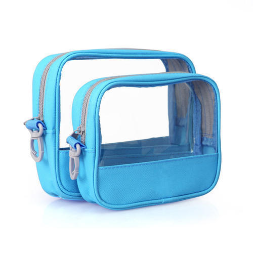Sky Blue PVC Cosmetic Pouch Bags