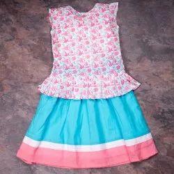 Kids Cotton Casual Wear 100% Organic Clothing Pink Blue Lehenga Set