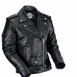 Men Leather Black Plain Jacket, Size: S to XL