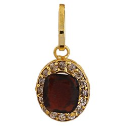 Gold Plated Hessonite Garnet Gemstone Pendant