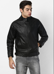 Black Solid Collar Pu Leather Jacket