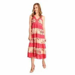 Western Wear Pink Ladies Floral Print One Piece Dress, Size: Free Size