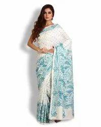 Off-White Pure Bangalore Silk Kantha Saree (Product No 152)