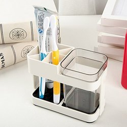 Toothbrush Toothpaste Holder With Removable Cup / Bathroom Toiletries Organizer Stand (Acrylic)