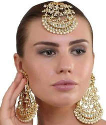 Imitation Alloy Meena Kundan Earrings Tikka Bridal Jewelry, Size: Medium