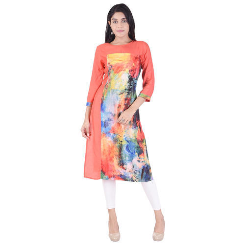 Formal Wear Red Lavanya Rayon Designer Digital Printed Kurti