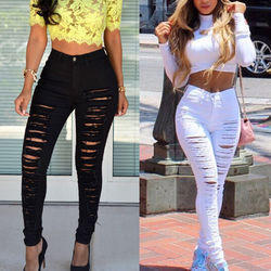 Stretchable BLACK & WHITE Denim Skinny Ripped Pants