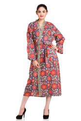 Cotton Block Print Bathrobe Women's Beach Wear
